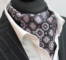 Cravat Ascot Pink Black & Silver Cravat with matching hanky.