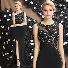 Black Long BEADED Evening Dress Bridesmaid Party Prom Formal Cocktail Gown dress