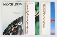 NIKON LITERATURE CLOSEUP/LENS/MOTOR DRIVES SET OF 3