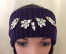 Juicy Couture Jewel Trim Knit Head Wrap -Purple- Women One Size
