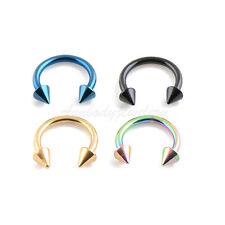 "4pc 16G 5/16"" Titanium Plated Steel Spiked Horseshoe Circular Barbell Ear Labret"