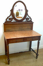 VINTAGE FRENCH WASH STAND OAK MIRROR DRESSING TABLE  antique Victorian/Edwardian