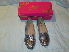 Candies's Silver Glitter Pewter Winston Flats Loafers Studs on Toe Womens sz 9