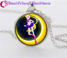 NEW Silver Anime Sailor Moon Jewelry Glass Dome Pendant Necklace#NS11