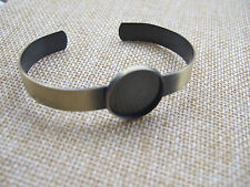 Antique Brass Polished Bangle Cuff Bracelet Blank 18mm Round Cabochon Setting