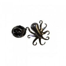 Gunmetal Finish 3D Octopus Metal Pin Badge marine life biologist AJTP522