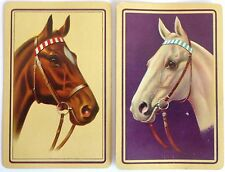 PAIR VINTAGE SWAP CARDS. c1950-70 HORSE PORTRAITS, WHITE & CHESTNUT. GILT ARRCO