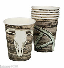 COWBOYS INDIANS 6 PAPER CUPS WILD WEST SALOON BIRTHDAY PARTY TABLEWARE PARTYWARE