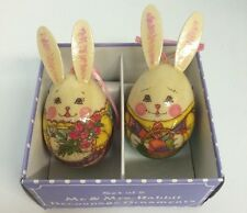 Happy Easter Bunny Rabbit Giftco decoupage paper mache Easter egg tree ornament