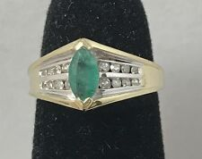 Natural Emerald & Diamond 10K Yellow Gold Ring Size 4