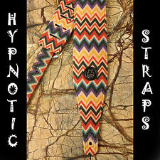 HYPNOTIC STRAPS ZIGZAG RED COLORFUL GUITAR BASS ACOUSTIC STRAP STRIPES COMFY