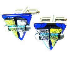 Cuff Links DICHROIC Fused GLASS Blue Silver Gold Triangle Men's Formal Wear