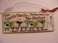 FAMILY NAME SIGN WITH JESUS AND HIS SHEEP ~PERSONALIZED -GREAT GIFT! ..  3X7""
