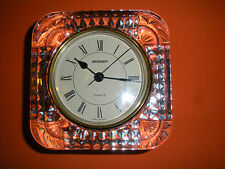"""Crystal Glass """"Staiger"""" Quartz Clock Marked  West Germany, Glass Marked France"""