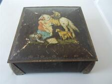 "Vtg Antique William Crawfords Biscuit Tin ""MORLAND CASKET"" c1930 Horse Dog Fish"