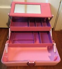 Vintage Caboodles Pink Purple Train Case #2630 Large Make Up Craft Organizer