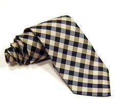 New Mens NAUTICA Skinny Plaid Neck Tie 100% Silk Navy Silver Gold Necktie
