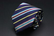 CHARLES TYRWHITT Tie. Navy Blue w Yellow, White, Purple & Teal Stripes.