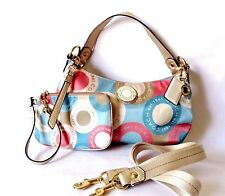 Great Coach Snaphead Purse and Wristlet 2 Pc Set PINK/TEAL/GOLD SATEEN