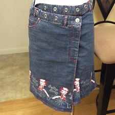 Betty Boop Denim Blue Jean Wrap Skirt Juniors Size 11 OFFICIALY LISENCED RARE
