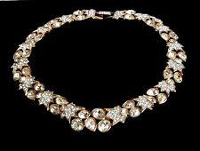 Signed Swarovski Wedding Necklace Gold Plated Bezel Set Crystals 132 gr New (D)