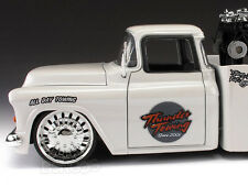 """1955 Chevy Stepside Pickup Tow Truck """"CUSTOM"""" 1:24 Scale Diecast Model"""