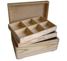 Pine wood jewellery storage box DD119 2 removable compartments dresser table