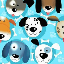 Fabric Dog Puppy Faces on Blue Flannel by the 1/4 yard