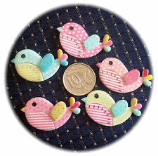 10 Birdie Flatback Resin Cabochons 23mm x 41mm x 5mm Cutest 4 Girls Pastel Birds