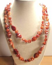 "Vintage 60's Long 54"" Amber Plastic Lucite Bead Necklace"