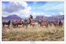 """""""Mustangs"""" Mark Karvon 24"""" Giclee Print - Mustangs of the American West"""