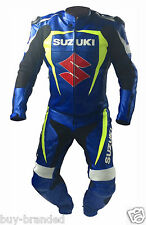 BLUE SUZUKI Motorbike Leather Suit Motorcycle Racing Leather Jacket Trouser