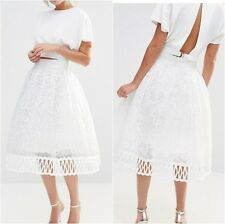 Chi Chi London Premium Lace Skirt with Cutwork Detail White UK 14 US 10 (ca2)