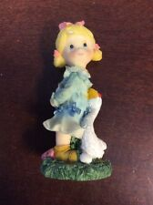 """Blond Young Girl Pink Bow With Goose 4 1/2"""" Tall - Pre Owned"""