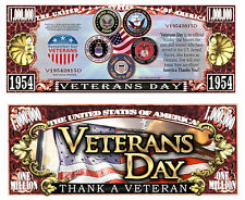 Veterans Day ~ Thank a Veteran ~ Million Dollar Collectible Novelty Note
