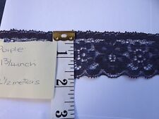Purple Flat Lace Trimmings  1 3/4 inch  2 1/2 metres