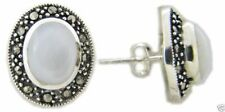 USA Seller Marcasite Earrings Sterling Silver 925 Stud Jewelry Mother of Pearl