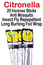 Citronella Anti Mosquito Insect Fly Repellent Repeller Incense Sticks Long Burni