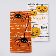 Set/2 Spider & Jack-o-lantern Pumpkin Kitchen Towels Cotton Halloween NWT $14