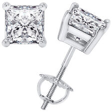 1.00CT Princess Cut Solitaire Lab-Created Diamond Earrings 14k White Gold