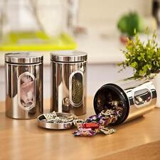 Stainless Storage Canister Window Jars Stackable Bottle Box Tea Coffee 1.5L!