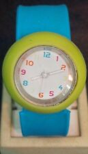 CUTE bright blue and green snap bracelet quartz watch