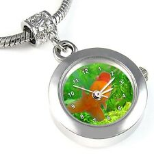 Gold Fish Silver Quartz Watch European Spacer Charm Bead For Bracelet EBA21