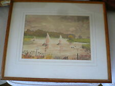 C. B. Thompson. Watercolour.  Sailing dinghies on river.