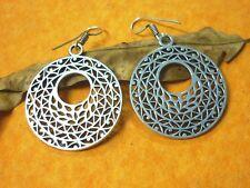 Tibettan Boho Julu Handmade Brass Metal Silver Oxidized Casting Earring Silver21