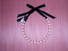 J Crew Clear Gold Colorful Crystal Necklace Glass Rectangles Black Ribbon NWT