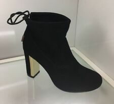 WOMENS LADIES BLACK SUEDE STYLE ANKLE BOOTS SHOES CASUAL HIGH BLOCK HEEL SIZE 6