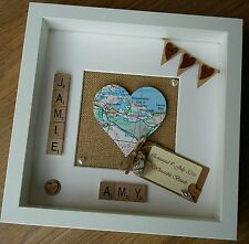 Personalised Heart Map scrabble Frame Engagement Wedding new home location