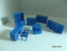 Lot of 7 Pieces of Vintage Superior Dollhouse Furniture Circa 1950-60's  Blue