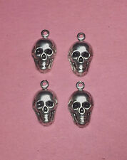 SMALL ANTIQUE SILVER PLATED BRASS SKULL FINDING WITH RING - 4 PC(s)